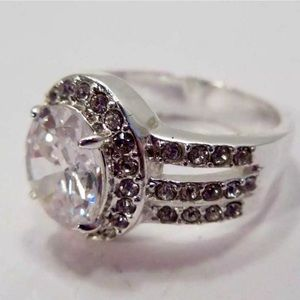 Faux Diamond Cocktail Ring Silver Mounting  - 8½